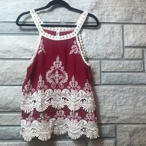 Tops - NWT NEW Cute Crochet Lace Embroidered Red Tank Top